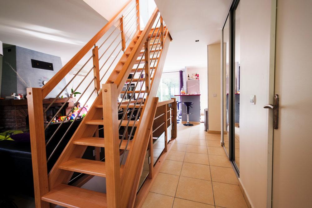 Rampe escalier bois inox id es de conception sont int ressants votre d cor - Rampe escalier inox ...