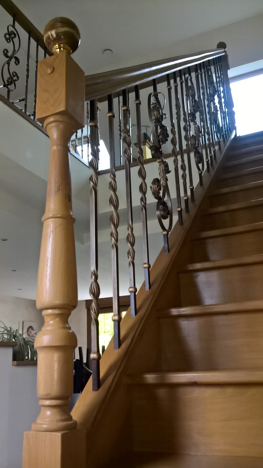 escalier bois rampe bois m tal. Black Bedroom Furniture Sets. Home Design Ideas