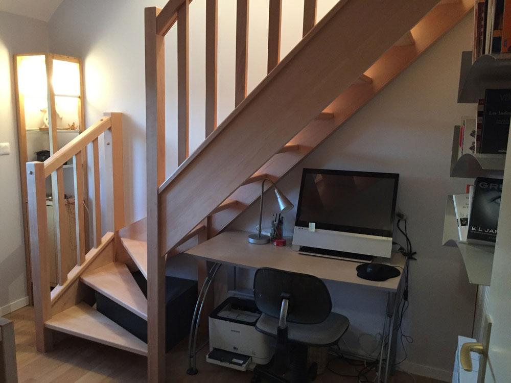 escalier bois rampe bois